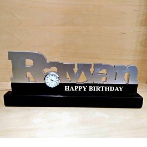 personalize acrylic name clock